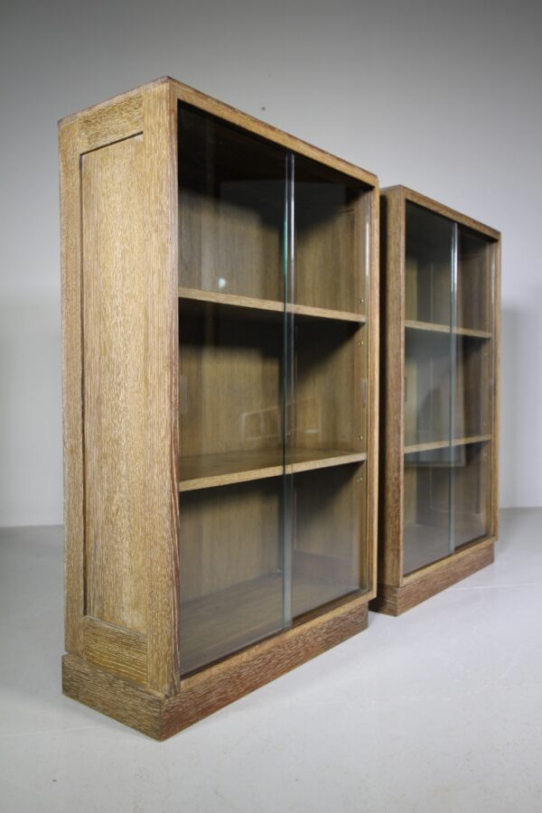 Pair of 1940's Oak Glazed Bookcases | Miles Griffiths Antiques