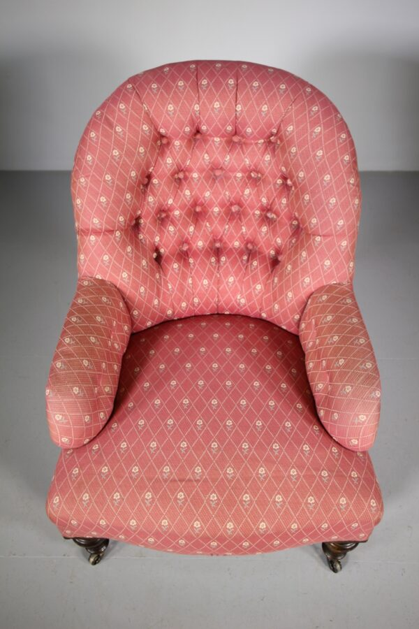 English 19th Century Antique Upholstered Armchair   Miles Griffiths Antiques