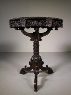Superb Antique Oak Tripod Table – Lazy Susan Top