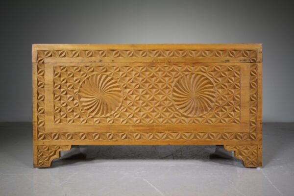 1940's Well Carved Pine Bedding Box | Miles Griffiths Antiques