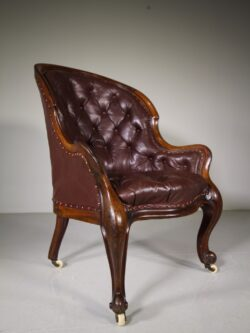 English 19th Century Antique Leather Library Armchair