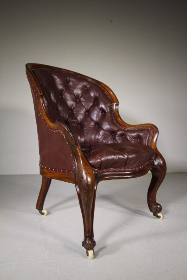 English 19th Century Antique Leather Library Armchair | Miles Griffiths Antiques
