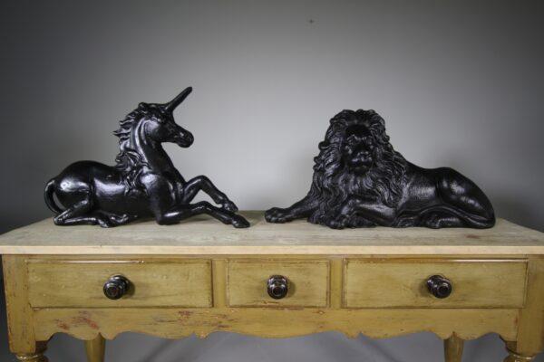 Large Pair of Antique Lion & Unicorn Door Stops   Miles Griffiths Antiques