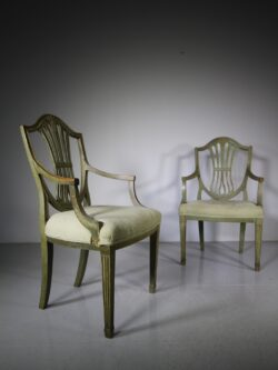 Pair of Early 19th Century Antique Hepplewhite Armchairs