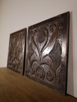 Pair of 17th Century English Antique Carved Oak Panels