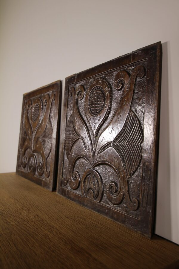 Pair of 17th Century English Antique Carved Oak Panels | Miles Griffiths Antiques