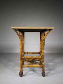 English 19th Century Antique Bamboo & Root Ball Table
