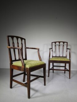 Pair of 18th C Antique Hepplewhite Country Chairs