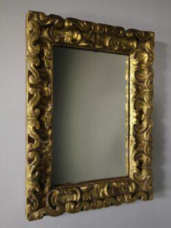 18th Century Carved Pine & Gilt Antique Mirror