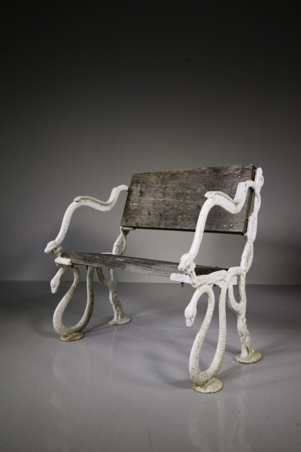 English 19th Century Antique Cast Iron Snake Garden Bench | Miles Griffiths Antiques