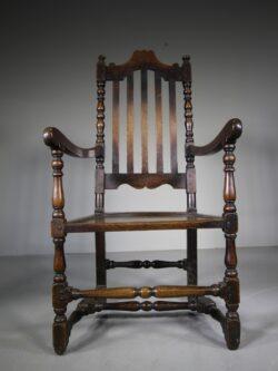 Large 18th Century Antique Period Oak Armchair