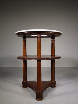 Unusual English Antique Mahogany & Marble Washstand