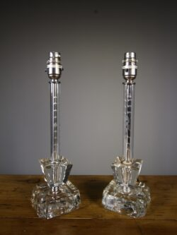 Pair of 1950's Cut Glass Table Lamps – Re-wired