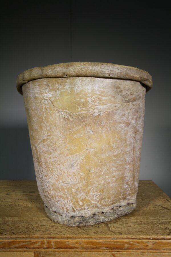 Large Edwardian Antique Skin Cotton Bucket | Miles Griffiths Antiques
