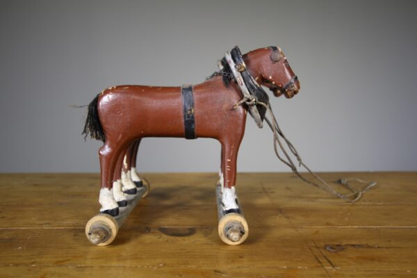 19th Century English Antique Wooden Dray Horses in Paint   Miles Griffiths Antiques