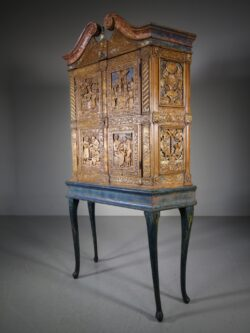 Amazing 18th Century Antique Cabinet on Stand in Original Paint