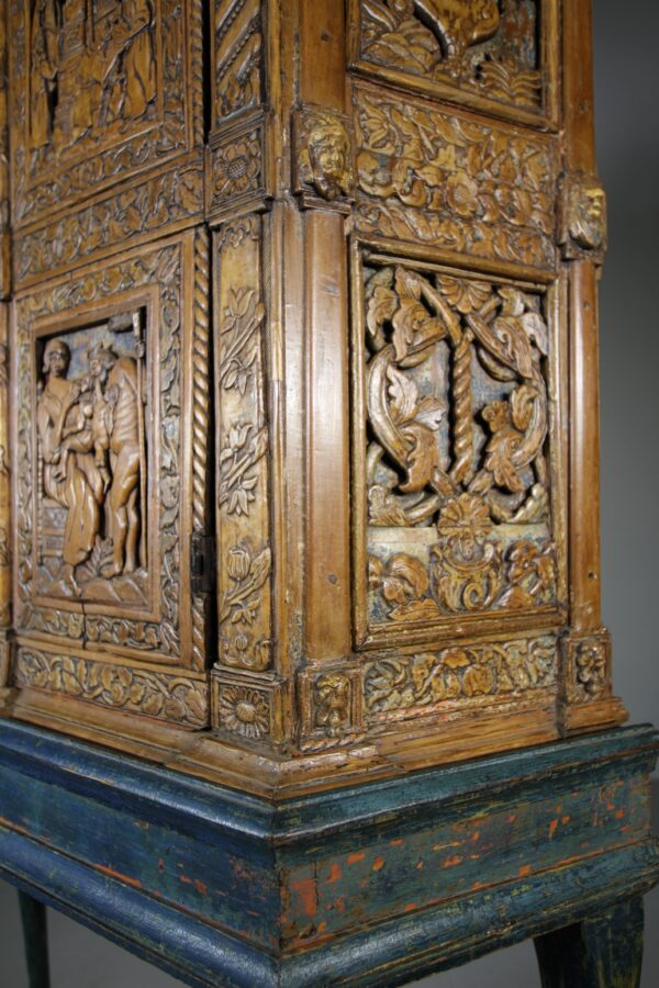 Amazing 18th Century Antique Cabinet on Stand in Original Paint | Miles Griffiths Antiques