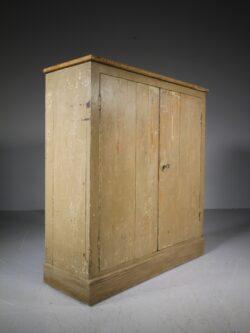 English 19th Century Original Antique Painted Pine Cupboard