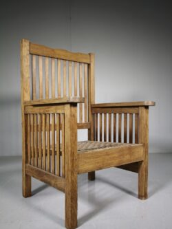 Large Antique Slatted Teak Armchair
