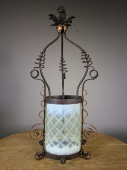 Large 19th Century Antique Copper & Vaseline Glass Lantern