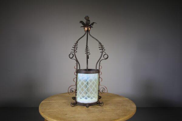 Large 19th Century Antique Copper & Vaseline Glass Lantern   Miles Griffiths Antiques