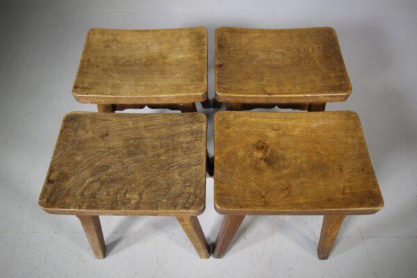 Set of Four 1930's Yorkshire Oak Stools | Miles Griffiths Antiques