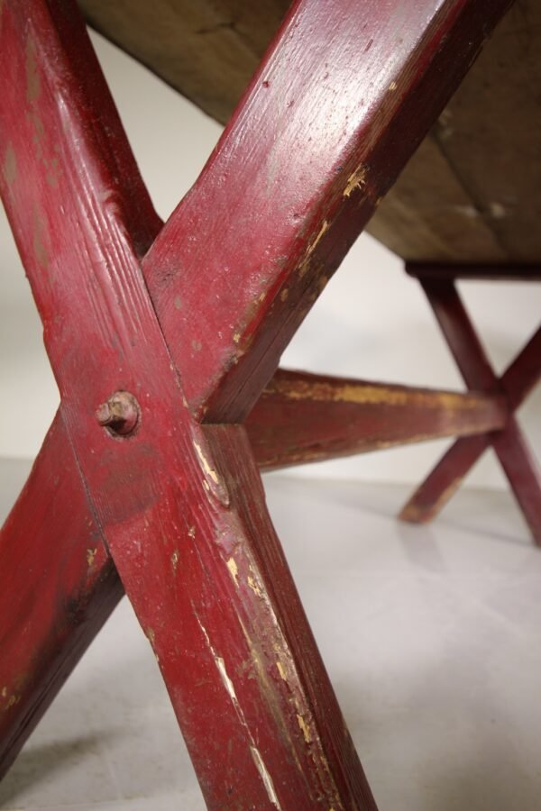 Large English Antique X Frame Tavern Table in Paint   Miles Griffiths Antiques