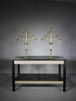 Large Pair of  Antique Brass Candelabra