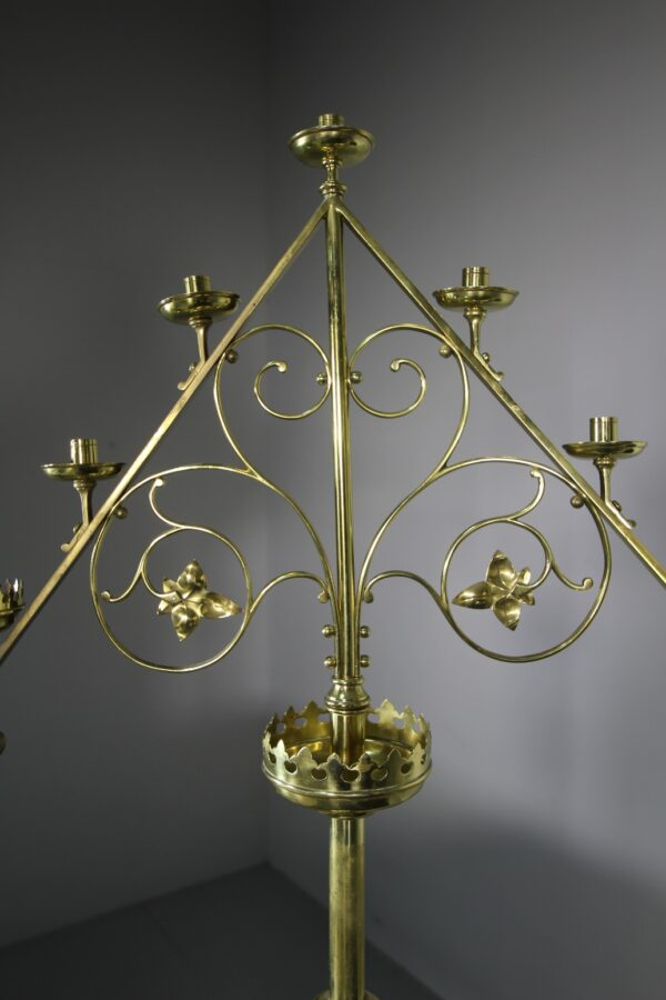 Large Pair of Antique Brass Candelabra | Miles Griffiths Antiques