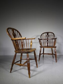 True Pair of Antique Lincolnshire Windsor Chairs