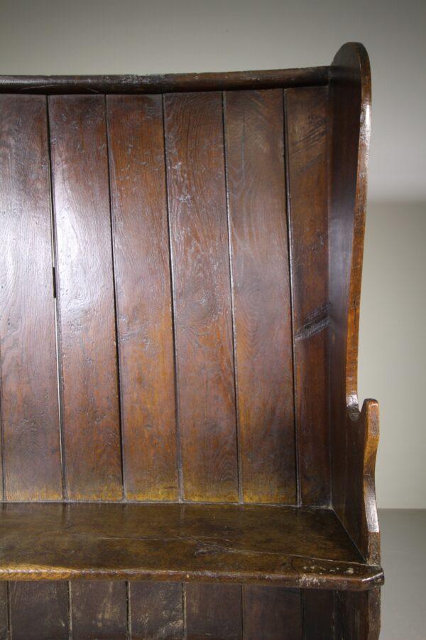 English 18th Century Antique Oak High Back Settle | Miles Griffiths Antiques