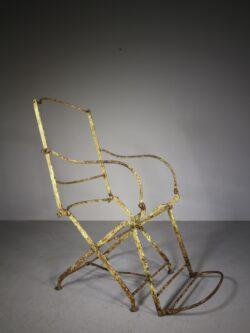 English 19th Century Antique Folding Iron Armchair