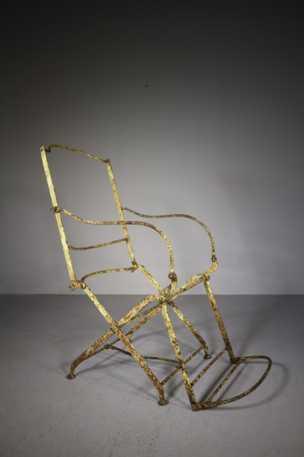 English 19th Century Antique Folding Iron Armchair | Miles Griffiths Antiques