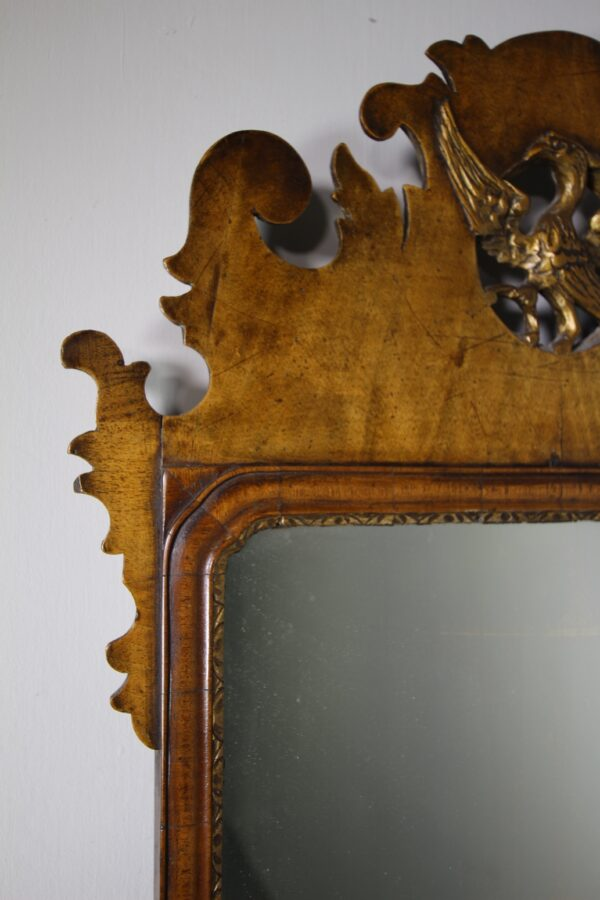 English 19th Century Antique Walnut Shapely Wall Mirror | Miles Griffiths Antiques