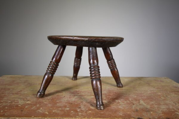 Georgian Antique Elm Stool- Stamped by Maker | Miles Griffiths Antiques