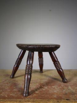 Georgian Antique Elm Stool- Stamped by Maker