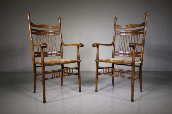 Pair of Arts & Crafts Antique Oak Chairs | Miles Griffiths Antiques