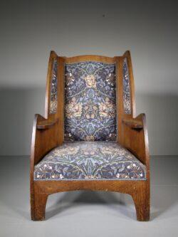 Heals Large Antique Oak Armchair