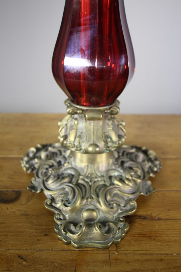 Tall English 19th Century Red Cut Glass & Bronze Table Lamp | Miles Griffiths Antiques