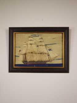 English Antique Sailing Ship Woolwork