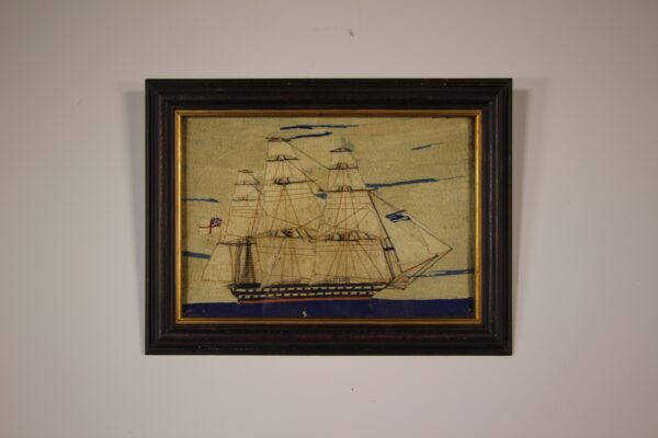English Antique Sailing Ship Woolwork   Miles Griffiths Antiques