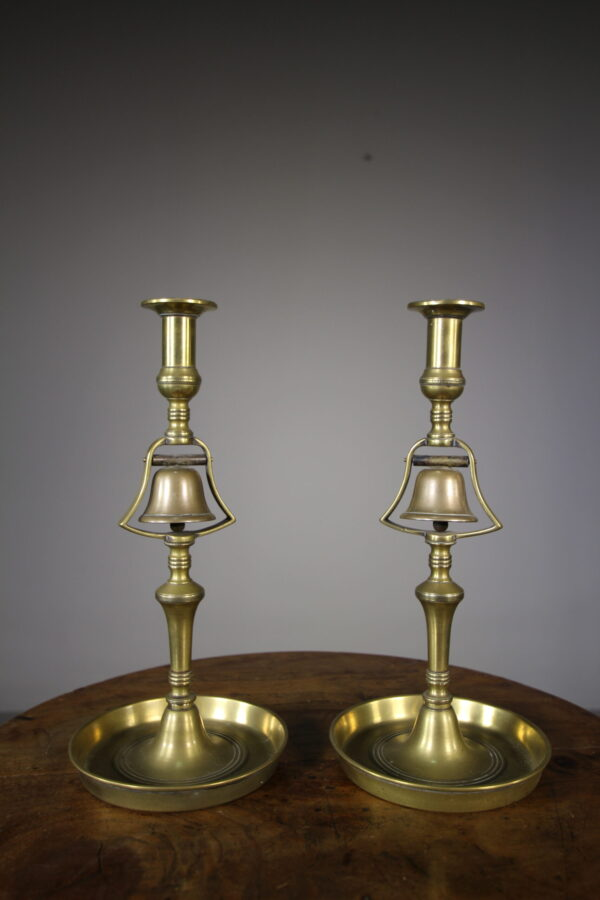 Pair of 19th Century Antique Tavern Bell Candlesticks   Miles Griffiths Antiques